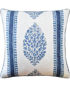 Marathi Decorative Throw Pillow in Blue and White