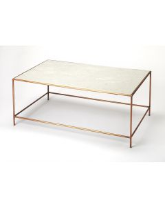 Marble and Iron Rectangular Coffee Table with Rose Gold Finished Base