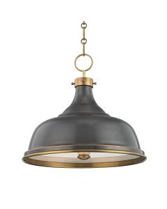 Mark D. Sikes for Hudson Valley Lighting Metal No. 1 Aged/Antique Distressed Bronze Three Light Pendant