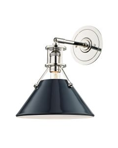 Mark D. Sikes for Hudson Valley Lighting Painted No. 2 Polished Nickel And Dark Blue Wall Sconce - ON BACKORDER UNTIL MID MARCH 2021