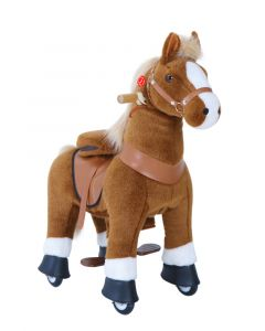 Medium Brown and White Horse Ride On Pony Toy For Kids