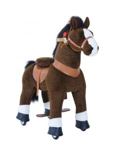 Medium Chocolate Brown Horse Ride On Pony Toy For Kids