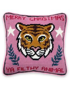 Merry Christmas Ya Filthy Animal Quote Needlepoint Pillow - ON BACKORDER UNTIL OCTOBER 2021