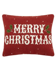 Merry Christmas Vintage Embroidered Pillow