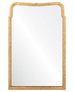 Michael S. Smith Hand Carved Wall Mirror in Dore Gold Leaf and Aged Ebony with Rounded Edges