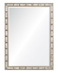 Michael S. Smith Distressed Silver Leaf Antiqued Mirror With Rosettes