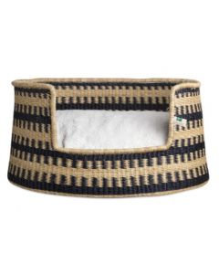 Midnight Cross Pattern Woven Basket with Cushion Dog Bed - Available in Two Sizes