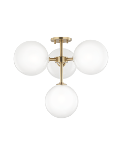 Mitzi by Hudson Valley Lighting Ashleigh Four Light Semi Flush Ceiling Mount with Glass Ball Shades  Available in Two Finishes