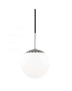 Mitzi by Hudson Valley Lighting Small Paige Glass Dome Pendant with Scallop Detail  Available in Three Finishes