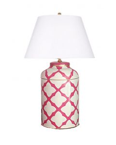 Moda in Pink Tole Table Lamp with Shade