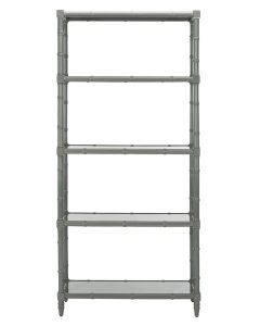 Modern Bamboo Style Four Tier Etagere in Grey Lacquer