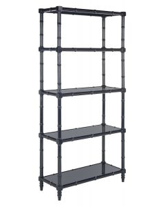 Modern Bamboo Style Four Tier Etagere in Navy Lacquer