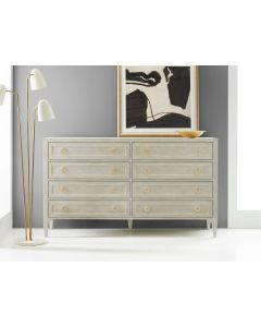 Modern History Eight Drawer Painted Antique Grey Gustavian Dresser with Gold Leaf Detailing
