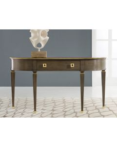 Modern History Eucalyptus Veneer Tribeca Console with Brass Detailing and Gold Leaf Hardware