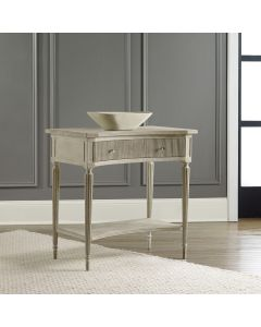 Modern History Painted Antique Grey Ribbed Bedside Table with Brass Hardware