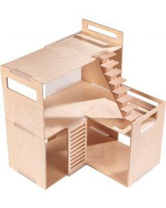 Modern Wooden 3 Story Dollhouse With Optional Furniture Set