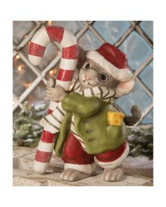 Mouse with Candy Cane Paper Mache Christmas Decoration