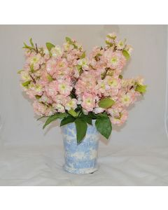 Pink Cherry Blossoms in Light Blue and White Porcelain Vase