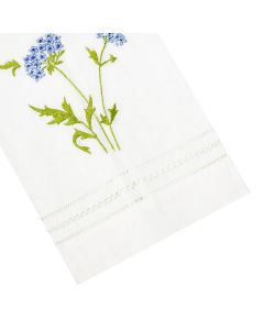 Muriel Embroidered Linen Tip Towel in Blue - IN STOCK IN GREENWICH, CT