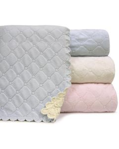 Nanas Quilted Plush Baby Blanket with Faux Sherpa Back - 30 Inches x 40 Inches