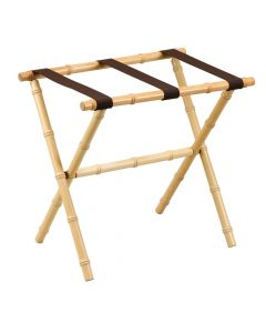 Natural Bamboo Inspired Wood Luggage Rack with 3 Brown Nylon Straps