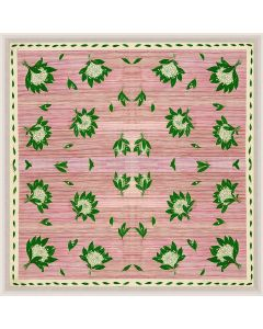 Natural Curiosities Paule Marrot Open Green Flowers on Pink Reproduction Wall Art with Optional Frame