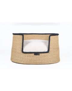 Natural Elephant Grass Basket with Black Trim Dog Bed - Available in Three Sizes
