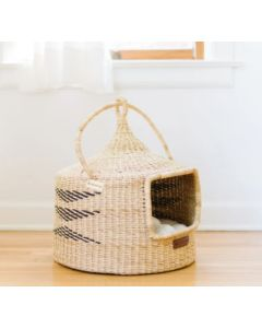 Natural Grass Cat Pod with Mud Cloth Liner