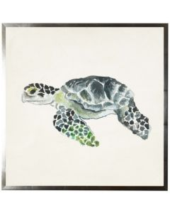 Nautical Sea Turtle Watercolor Wall Art With Size and Framing Options