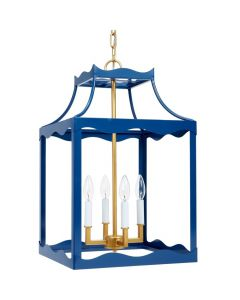 Navy Blue and Gold 4-Light Lantern With Scalloped Edges