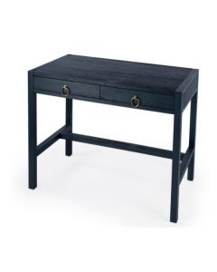 Navy Blue Two Drawer Writing Desk With Ring Pulls