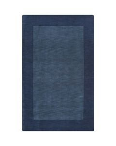 Navy Hand Loomed Wool Rectangular Rug with Border, Available in a Variety of Sizes