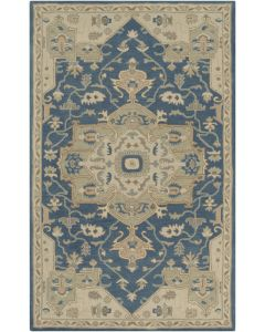 Navy and Tan Abstract Design Wool Area Rug - Available in a Variety of Sizes