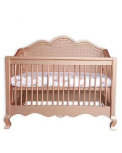 French Provincial Custom Scalloped Conversion Crib With Caning - Available in a Variety of Finishes