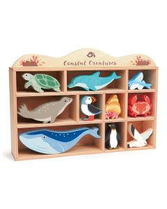 Ocean Animals Wooden Toy Set with Display Shelf for Kids