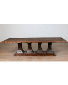 Old English Camden Farmhouse Wooden Rectangle Pedestal Dining Table With Nailhead Trim - BACKORDERED UNTIL MARCH 2021