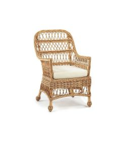 Open Weave Wicker Armed Porch Chair - Available in a Variety of Colors