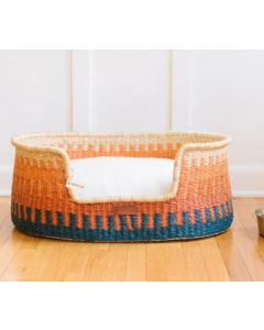 Orange and Blue Elephant Grass Basket Dog Bed - Available in Two Sizes