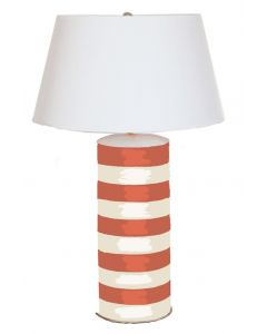 Orange and White Stripe Stacked Tole Table Lamp with Shade