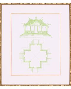 Lime Green Pagoda Design II Lithograph in Gold Frame