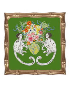 Monkeying Around Green and Gold Decorative Square Bamboo Tray