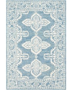 Pale Blue Hand Tufted Floral Design Wool Rug, Available in a Variety of Sizes