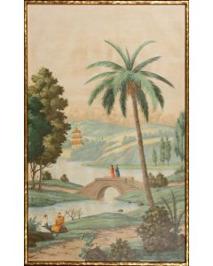 Palm Paysage I Landscape & Pagoda Canvas Wall Art in Gold Frame