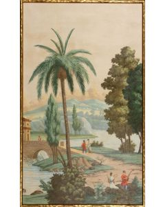 Palm Paysage II Landscape & Pagoda Canvas Wall Art in Gold Frame