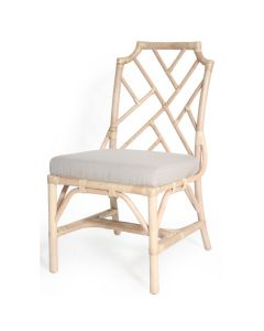Palm Beach Chippendale Custom Painted Side Chair with Linen Cushion - ON BACKORDER UNTIL NOVEMBER 2021