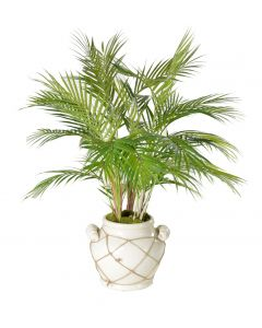 Faux Palm Leaf Plant With Moss In White Pot With Rope Design