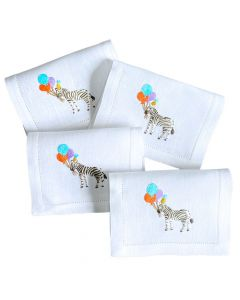 """Set of 4 Embroidered """"Party Zebra"""" Fold-over Cocktail Napkins"""