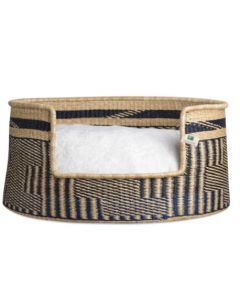 Patterned Elephant Grass Basket with Cushion Dog Bed - Available in Three Sizes