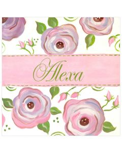 Personalized Raspberry Pink Floral Canvas Wall Art for Kids