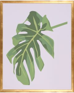 Green Philodendron III Wall Art in Gold Frame